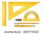 yellow plastic ruler... | Shutterstock .eps vector #204774322