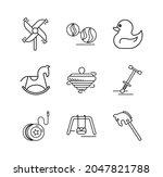 Icon Set Of Oak  Duck  Rocking...