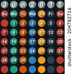 calendar june 2015 with flat... | Shutterstock .eps vector #204782716
