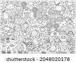 happy farm big coloring page.... | Shutterstock .eps vector #2048020178
