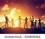 happy group of people  friends  ... | Shutterstock . vector #204808366