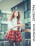young beautiful hipster woman...   Shutterstock . vector #204817996