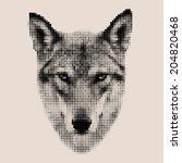 retro style mosaic portrait of... | Shutterstock .eps vector #204820468