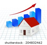 growing graph with house   real ... | Shutterstock .eps vector #204832462