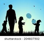 children silhouettes | Shutterstock .eps vector #204837502