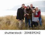 multi generation family in sand ... | Shutterstock . vector #204839242