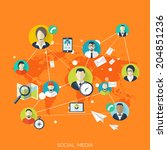 flat social media and network... | Shutterstock .eps vector #204851236