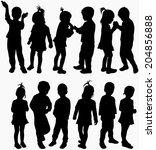 happy children | Shutterstock .eps vector #204856888