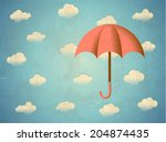 aged vintage card with umbrella ... | Shutterstock . vector #204874435