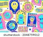 sticker pack of funny cartoon... | Shutterstock .eps vector #2048759012