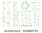 floral decor set. 100 different ... | Shutterstock .eps vector #204880735