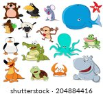 big set of cartoon animals  | Shutterstock .eps vector #204884416