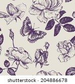vintage vector seamless floral... | Shutterstock .eps vector #204886678