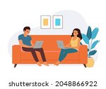 young man and woman sitting on...   Shutterstock .eps vector #2048866922