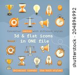 3d and flat set icons ... | Shutterstock .eps vector #204896992