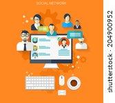 flat social media and network... | Shutterstock .eps vector #204900952
