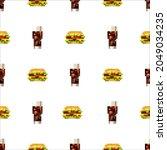 pixel art fastfood set seamless ... | Shutterstock .eps vector #2049034235