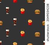pixel art fastfood set seamless ... | Shutterstock .eps vector #2049034238