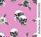 skulls and roses.seamless... | Shutterstock .eps vector #2049035585