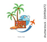 travel suitcase with globe and... | Shutterstock .eps vector #204906472