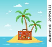 travel suitcase with palmtrees. ... | Shutterstock .eps vector #204906538