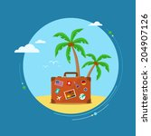 travel suitcase with palmtrees. ... | Shutterstock .eps vector #204907126