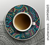 vector illustration with a cup... | Shutterstock .eps vector #204908605
