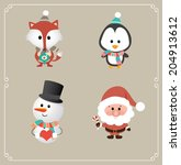 set of cute christmas character.... | Shutterstock .eps vector #204913612