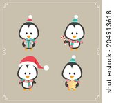 set of cute penguins. vector... | Shutterstock .eps vector #204913618