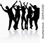 dancing people silhouettes | Shutterstock .eps vector #204914182
