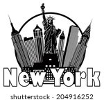 new york city skyline with...   Shutterstock .eps vector #204916252