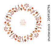 vector watercolor autumn frame. ... | Shutterstock .eps vector #204918796