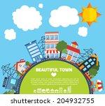 modern flat city background... | Shutterstock .eps vector #204932755