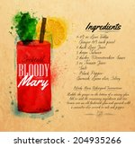 Bloody mary cocktails drawn watercolor blots and stains with a spray, including recipes and ingredients on the background of kraft