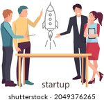 startup launch of new business...   Shutterstock .eps vector #2049376265
