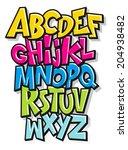 cartoon comic doodle font... | Shutterstock . vector #204938482