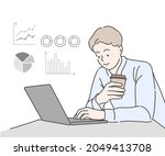 young business man uses a... | Shutterstock .eps vector #2049413708