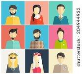 set of flat avatar icons....   Shutterstock .eps vector #204944932