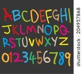 handwritten marker effect font  ... | Shutterstock .eps vector #204957868