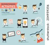 set of businessman activities... | Shutterstock .eps vector #204959356