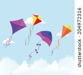 abstract cute kites on a... | Shutterstock .eps vector #204972316