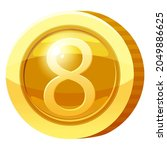 gold medal coin number 8 symbol....