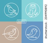 vector bird icons in outline...