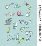 washing items 1 | Shutterstock .eps vector #204994315
