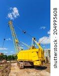caterpillar crane on the... | Shutterstock . vector #204995608