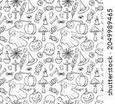halloween seamless black and... | Shutterstock .eps vector #2049989465