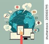social media globe sign and...   Shutterstock .eps vector #205003795
