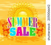 summer sale design with grunge... | Shutterstock .eps vector #205006642