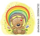 cute teddy bear with rainbow | Shutterstock .eps vector #205006732