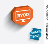 byod sign icon. bring your own... | Shutterstock .eps vector #205009732